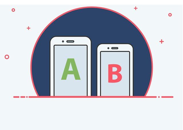 kreslený obrázek srovnávající A a B na dvou telefonech
